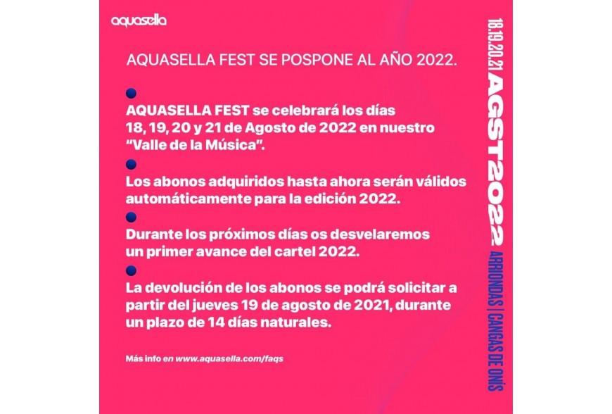 COMUNICADO:  AQUASELLA FEST SE POSPONE AL AÑO 2022